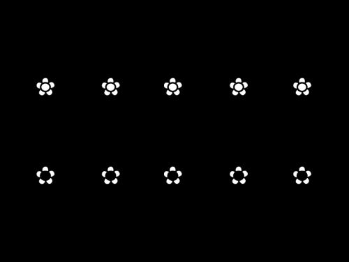 音符と小花のライン・罫線の白黒イラスト