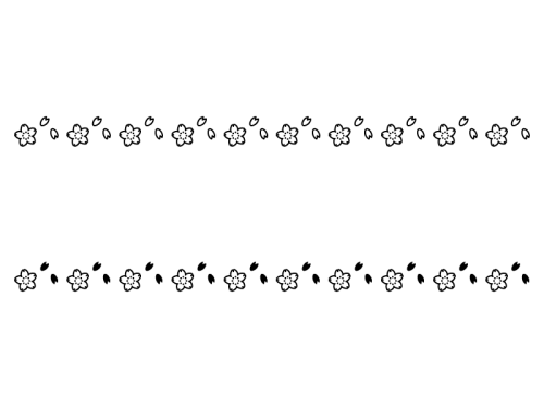 春さくらのライン罫線の白黒イラスト02 かわいい無料の白黒