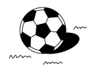 サッカーボールの白黒イラスト02