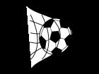 サッカーのゴールの白黒イラスト
