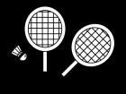 バドミントンラケットの白黒イラスト