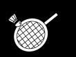 バドミントン・ラケットとシャトルの白黒イラスト