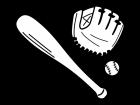 野球・グローブやバットの白黒イラスト
