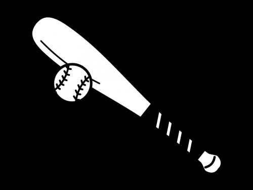 野球・バットとボールの白黒イラスト