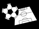 サッカーの白黒イラスト