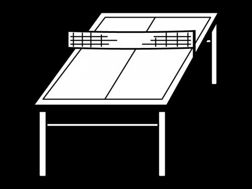 卓球台の白黒イラスト