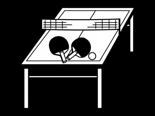 卓球台とラケットの白黒イラスト かわいい無料の白黒イラスト モノぽっと