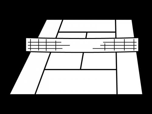 テニスコートの白黒イラスト