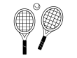 テニスラケットとボールの白黒イラスト