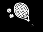 テニスラケットとボールの白黒イラスト02