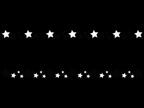 星のライン罫線の白黒イラスト02 かわいい無料の白黒イラスト モノぽっと