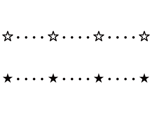 星のライン・罫線の白黒イラスト03
