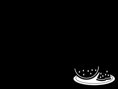スイカのフレーム・枠の白黒イラスト