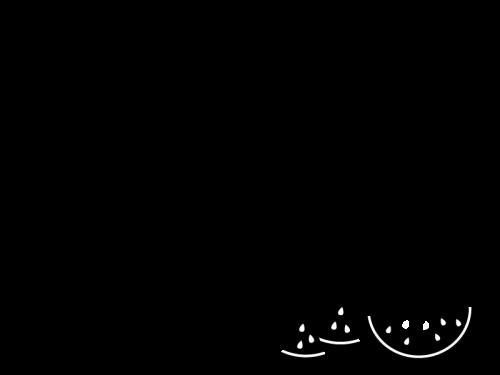 スイカのフレーム・枠の白黒イラスト02