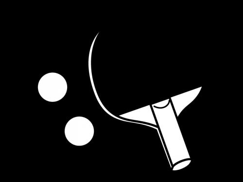卓球のラケットの白黒イラスト02