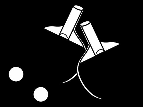 卓球のラケットの白黒イラスト04
