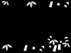 七夕飾りのフレーム・枠の白黒イラスト02