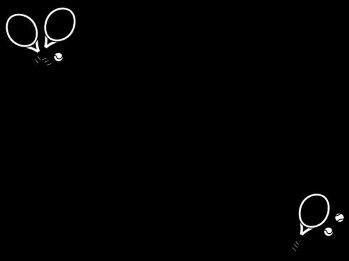 テニスのフレーム・枠の白黒イラスト
