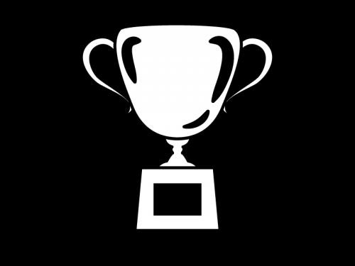 トロフィー優勝カップの白黒イラスト かわいい無料の白黒イラスト