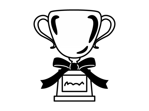トロフィー優勝カップの白黒イラスト02 かわいい無料の白黒イラスト