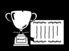 トロフィー・優勝カップと賞状の白黒イラスト
