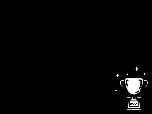 トロフィー・優勝カップと賞状のフレーム・枠の白黒イラスト