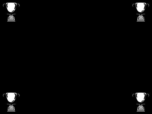 トロフィー・優勝カップのフレーム・枠の白黒イラスト
