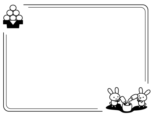 十五夜・うさぎの餅つきのフレーム・枠の白黒イラスト