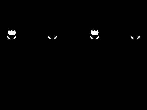 チューリップのライン・罫線の白黒イラスト