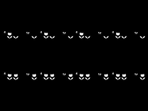 チューリップのライン・罫線の白黒イラスト03