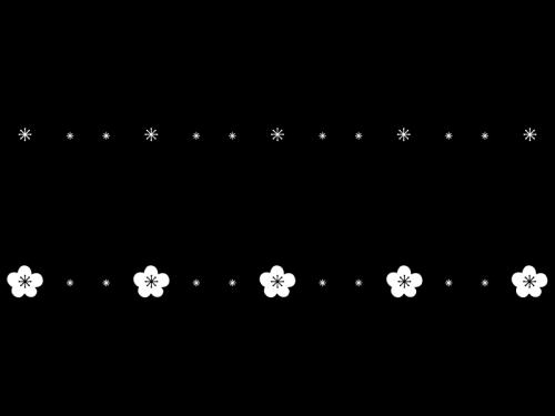 梅の花のライン罫線の白黒イラスト かわいい無料の白黒