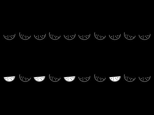 スイカのライン・罫線の白黒イラスト