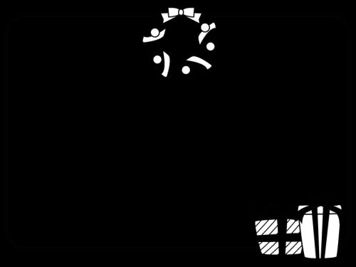 クリスマスリースとプレゼント箱のフレーム・枠の白黒イラスト