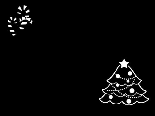 クリスマスツリーのフレーム枠の白黒イラスト かわいい無料の白黒
