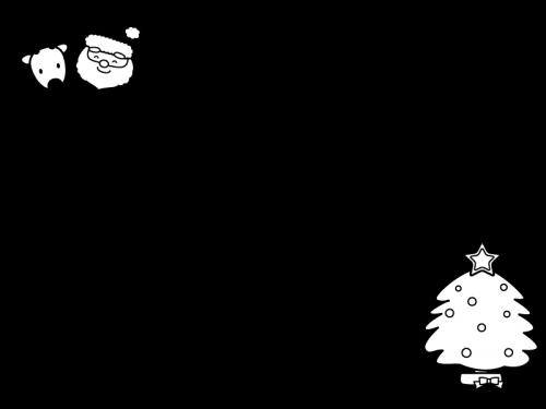 クリスマスツリーとサンタのフレーム・枠の白黒イラスト