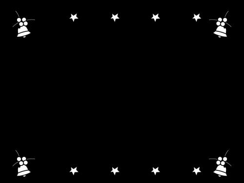 クリスマスベルのフレーム・枠の白黒イラスト