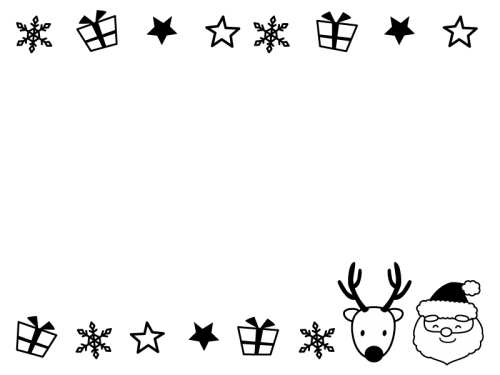 サンタクロースとトナカイのフレーム・枠の白黒イラスト