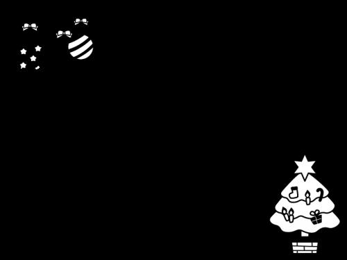 クリスマスツリーとオーナメントのフレーム・枠の白黒イラスト