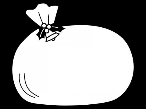 クリスマスのプレゼント袋のフレーム・枠の白黒イラスト