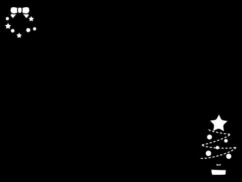 クリスマスツリーとリースのフレーム・枠の白黒イラスト