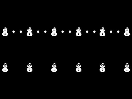 雪だるまのライン・罫線の白黒イラスト
