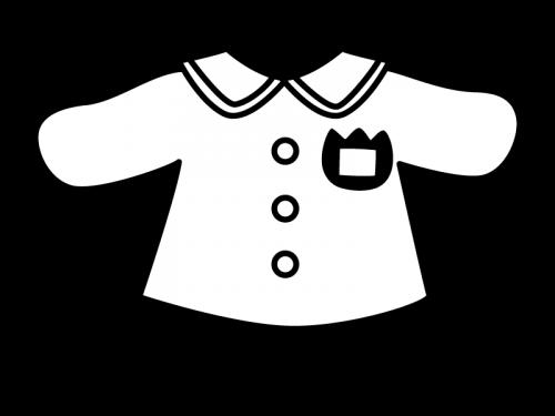 園児服の白黒イラスト