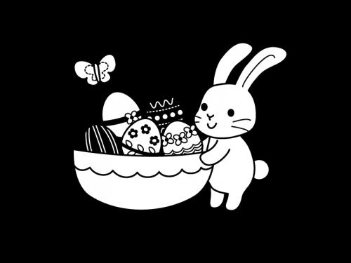 イースターエッグとラビットの白黒イラスト