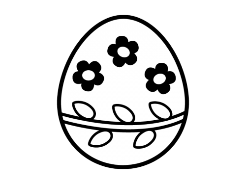 イースターエッグの白黒イラスト02
