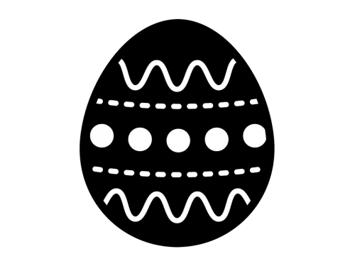 イースターエッグの白黒イラスト05
