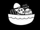 かご盛りのイースターエッグの白黒イラスト