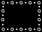 花のフレーム・枠の白黒イラスト