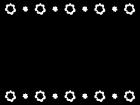 花の上下フレーム・枠の白黒イラスト