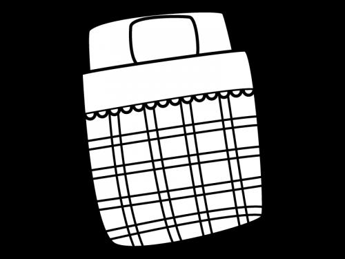 布団の白黒イラスト