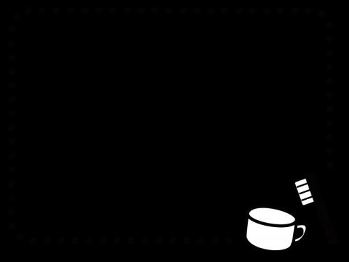 歯ブラシとコップのフレーム・枠の白黒イラスト